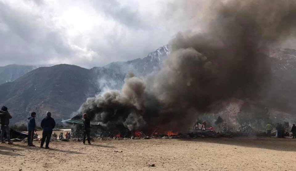 सोलुखुम्बुको लुक्लामा आगलागी हुँदा एक घर जलेर नष्ट