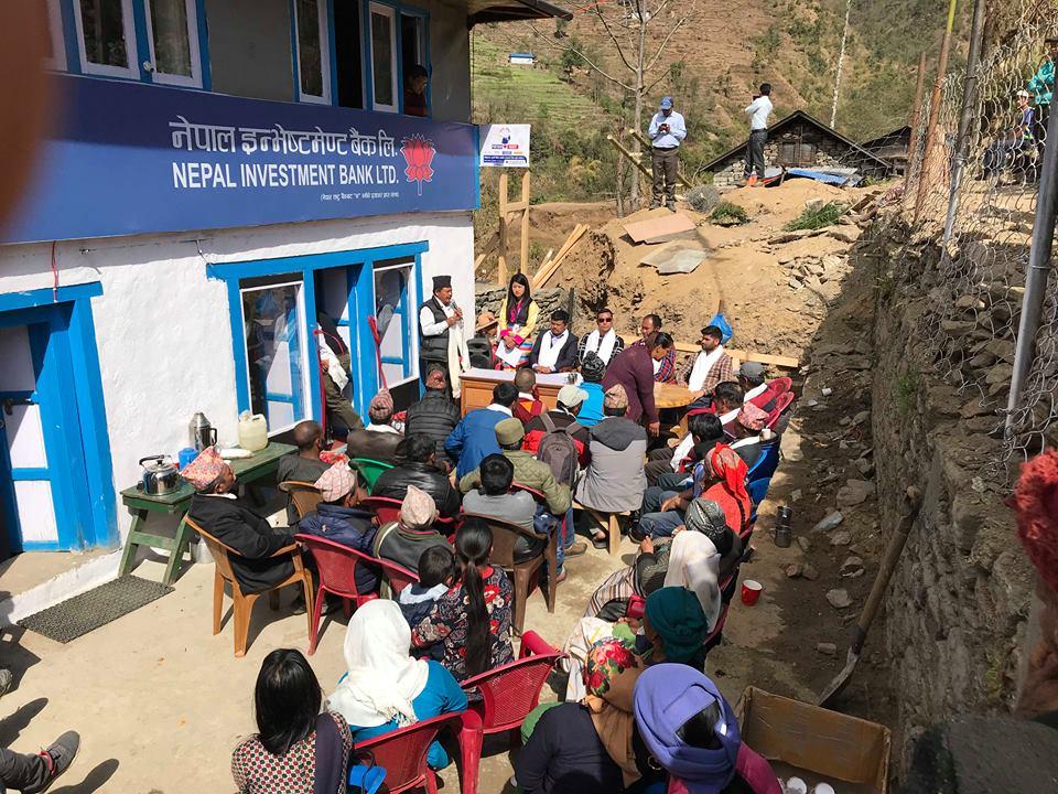 खरिखोलामा नेपाल ईन्भेस्टमेन्ट बैंकको शाखा विस्तार, स्थानियमा खुसी