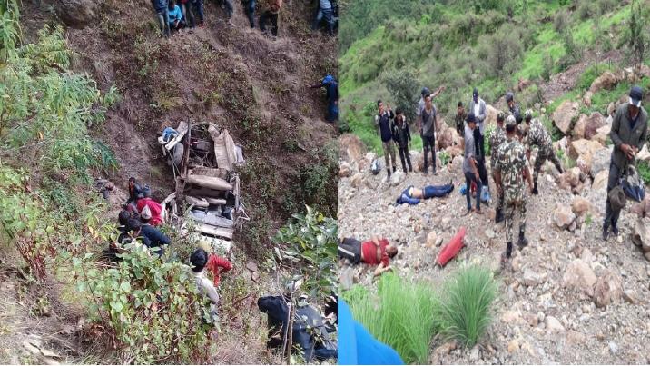 सोलुबाट काठमांडौ जादै गरेको जीप ओखलढुंगामा दुर्घट्ना, ६ जनाको मृत्यु (नाम सहित)